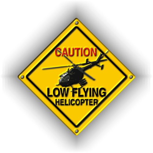 CAUTION LOW FLYING HELICOPTER BO 105